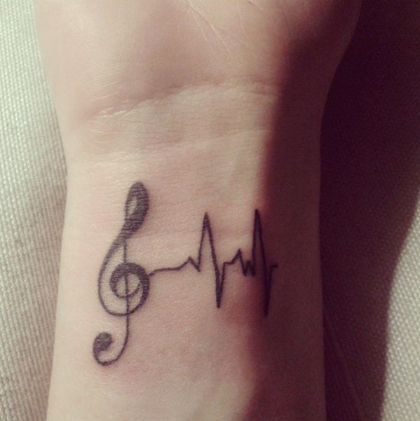 """""""27 Creative And Personal Music Tattoos"""" -- Some very unusual and clever ones at the click-through. [Source for the one shown: https://twitter.com/camilanesas/status/350742056303460353/photo/1]"""