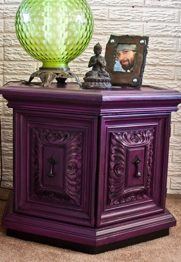 OMG! I remember seeing many of these in homes as  a kid....WOW!  Modernly Shabby Chic Furniture: Purple and Black Nightstand