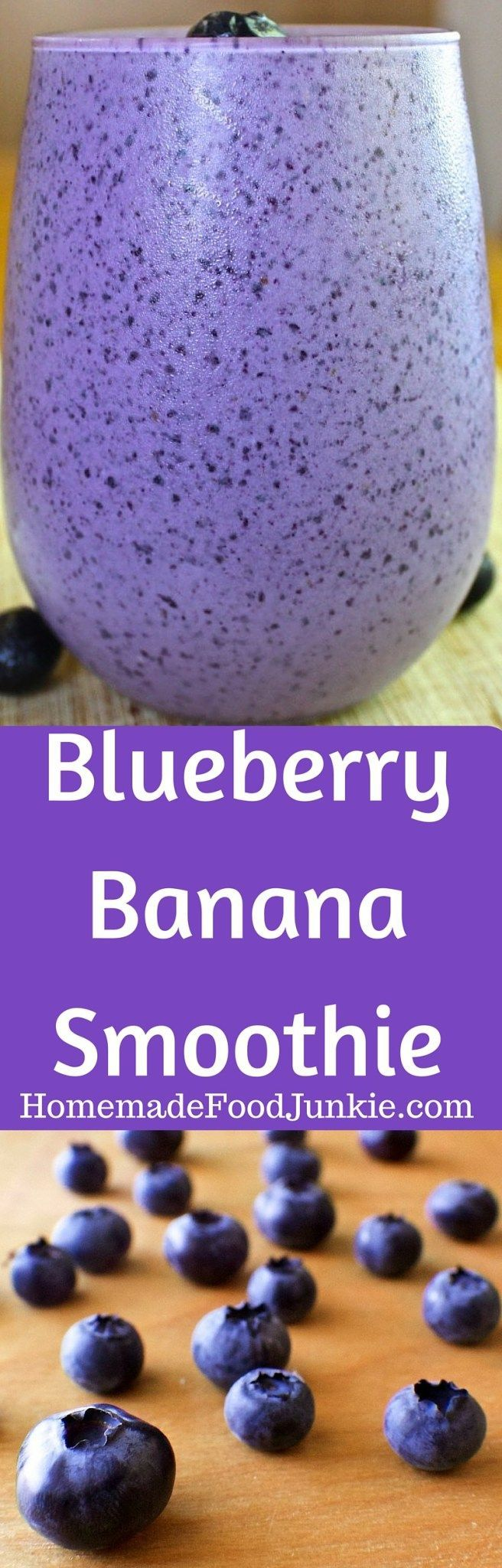 Blueberry Banana Smoothie is packed with antioxidants and protein! This delicious smoothie offers a wonderful blend of healthy nutrients and yummy fruits. This healthy breakfast is Low-Sodium, Vegetarian and Gluten-Free!