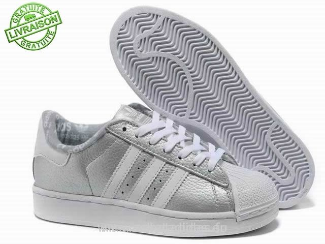 adidas superstar ii chaussures blanches argent mode