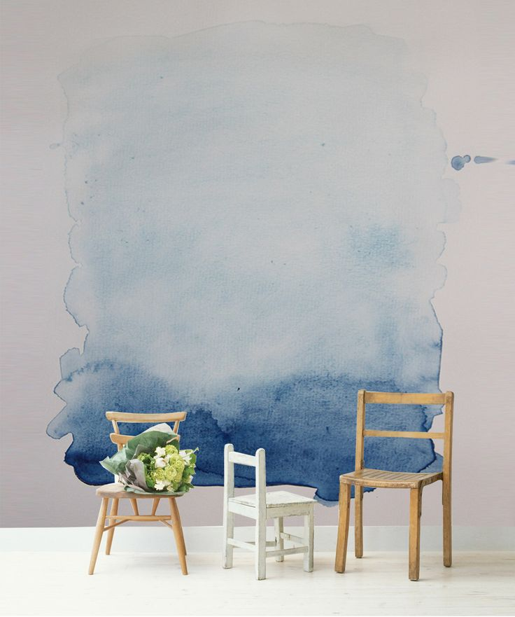 Charming Blue Wash Removable Wall Mural, Blue And White Watercolour Painting, Self  Adhesive Wallpaper, Part 7