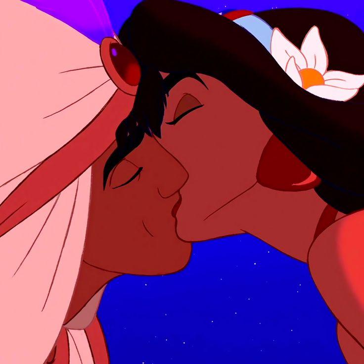 Aladdin and Jasmine's kiss