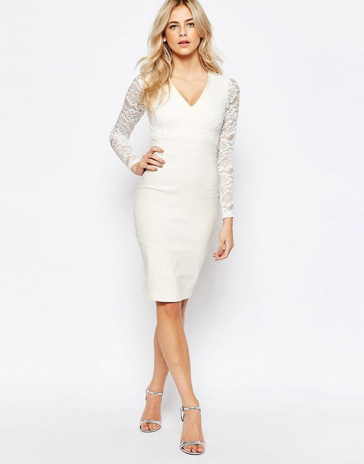Image 4 of Vesper 2 in 1 Long Sleeved Lace pencil Dress