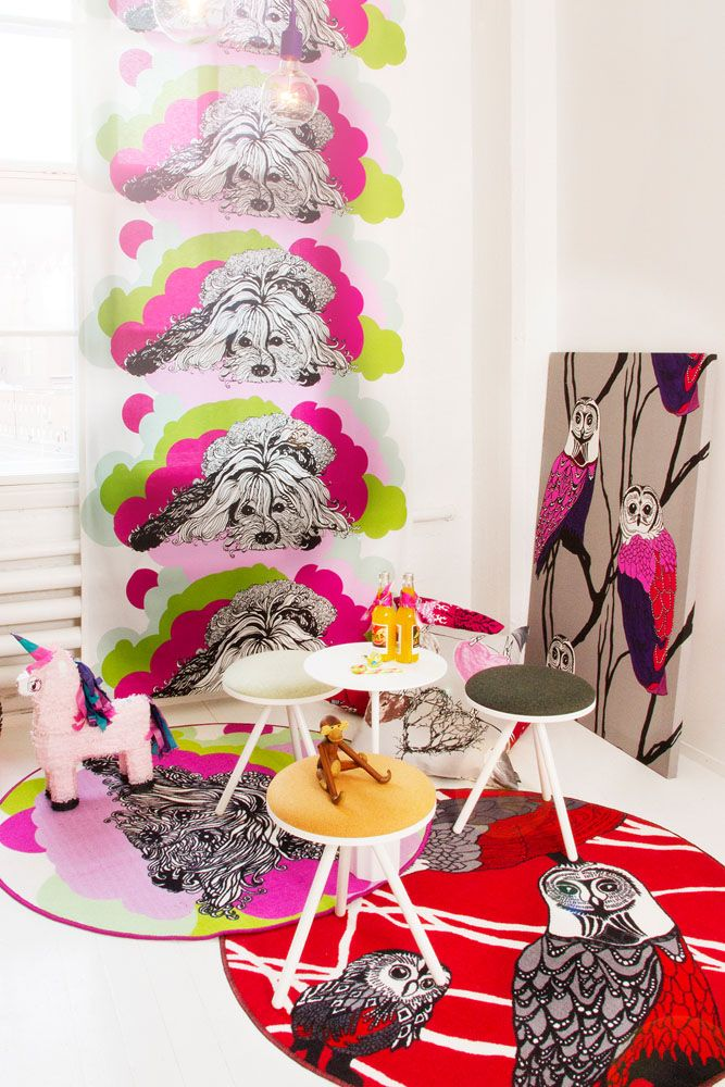 Vallila Interior AW14 collection, Naapurin koira (The Neighbor's Dog) curtain and rug & Hu-huu (Owl) fabric & rug.