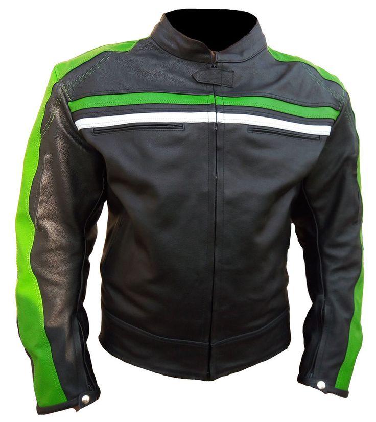 Black Biker Leather Jacket White Green Striped Motorbike Jacket All Size #Handmade #BasicJacket