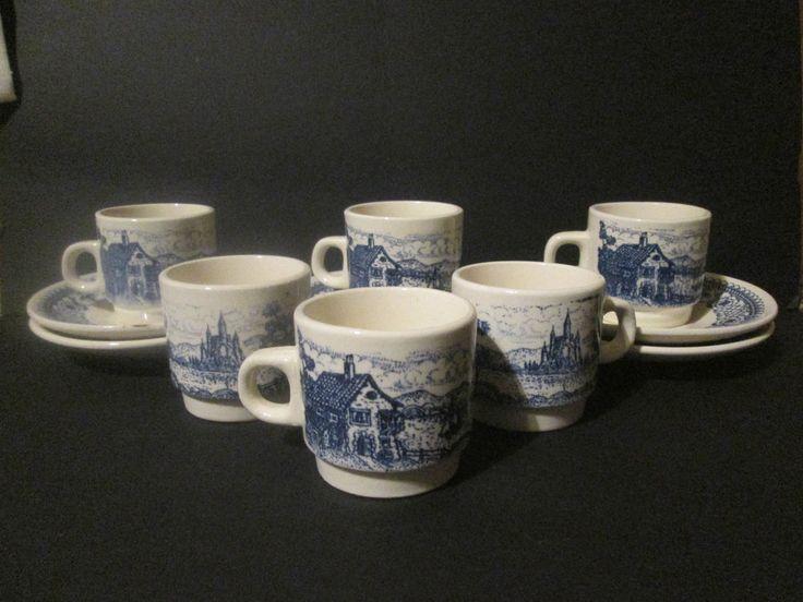 Vintage Lozapenco Chile Blue Transfer 1960's set of 6 Expresso Cups & Saucers #Lozapenco