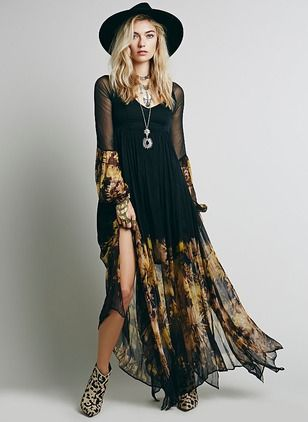 Cotton Polyester Color Block Long Sleeve Maxi Casual Dresses