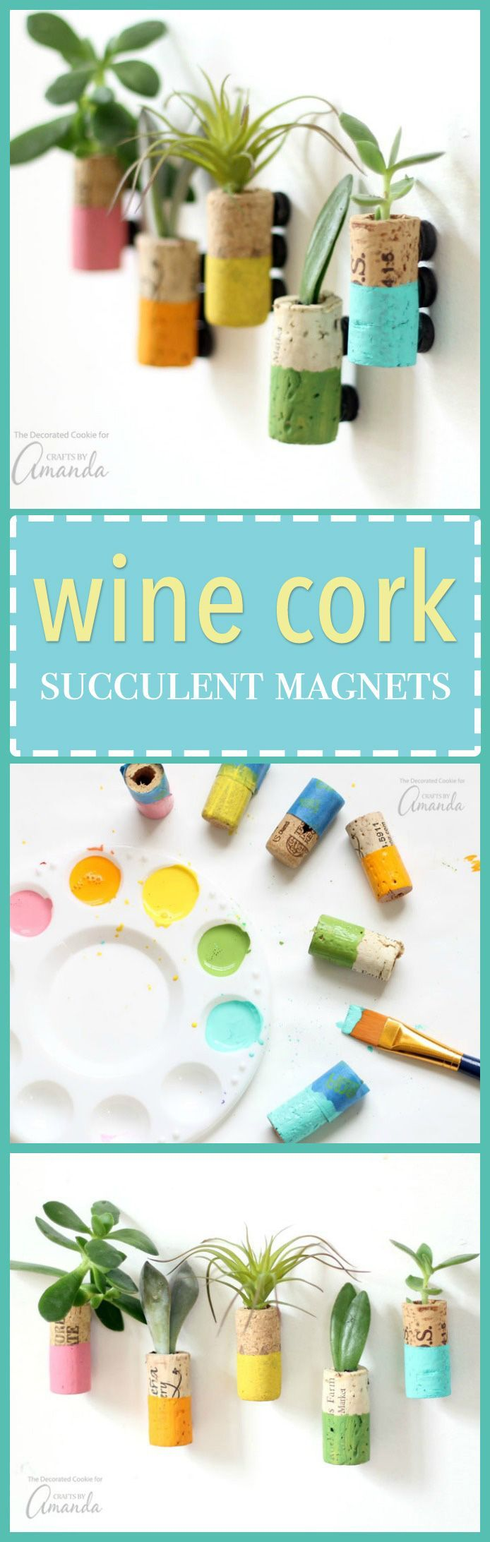 these wine cork succulent magnets are colorful magnets made from recycled wine corks these pretty