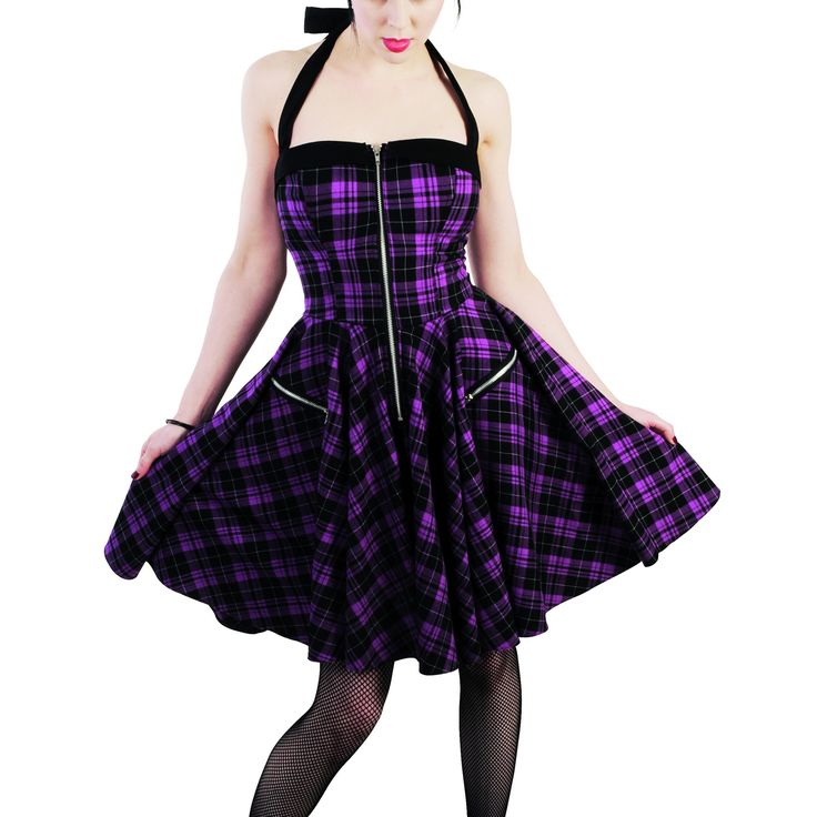 Emo Dresses | HELL BUNNY PURPLE TARTAN ZIP PUNK EMO PROM PARTY DRESS Preview