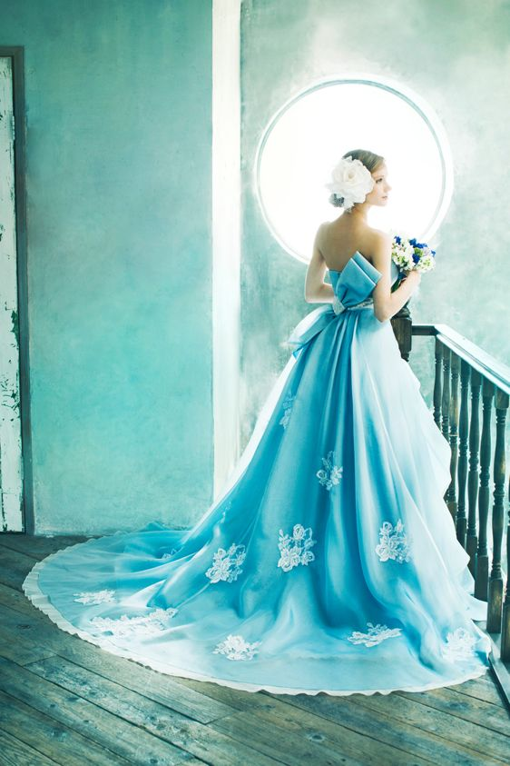 Stunning electric blue wedding gown
