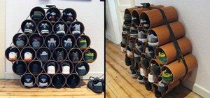 How to Build a Low-Cost Shoe Rack Using PVC Pipes. Have your local hardware store cut PVC pipe or do it with a table saw. Or buy concrete forming tubes, which may be a little cheaper and easier to cut. 6 to 8 inch diameter pipe should be adequate for most shoes (measure first!). Glue together with Gorilla Glue or PVC cement.