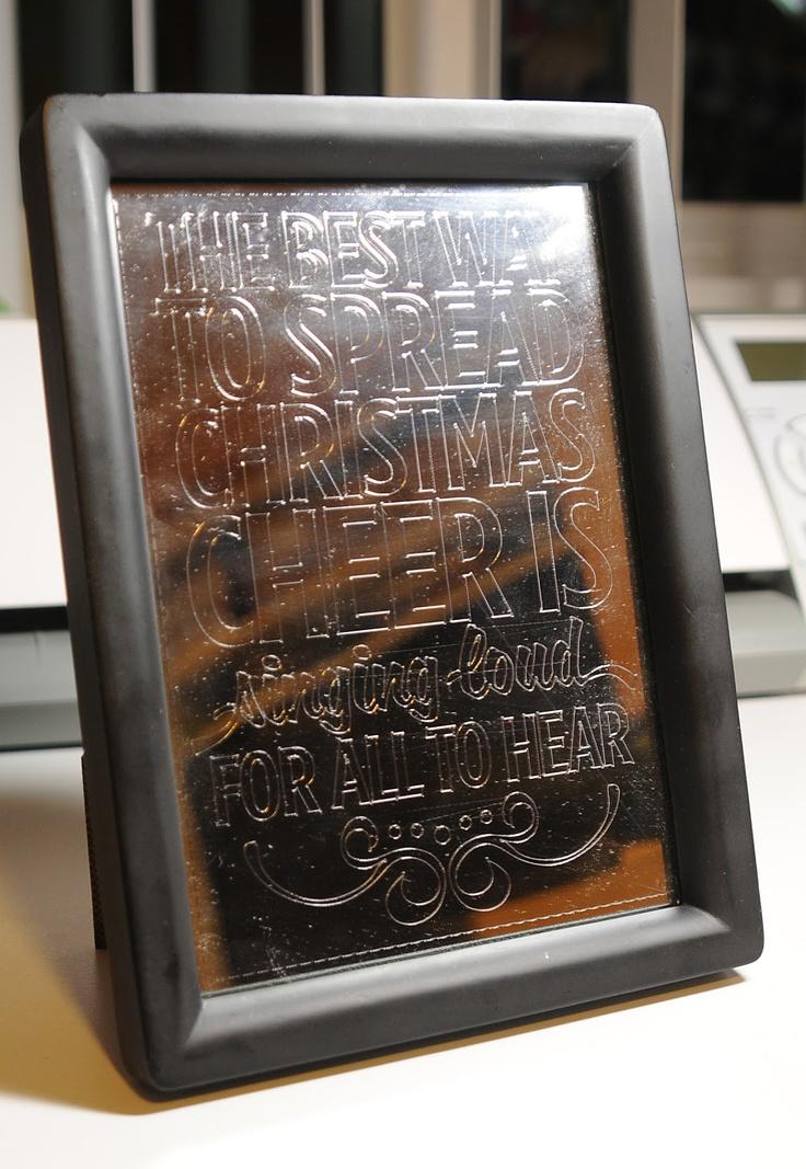 Amy Chomas: Engraved mirror with Chomas Creations engraving tip