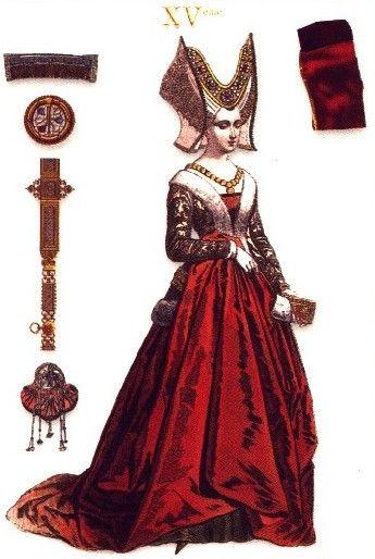 Esta es una imagen de un vestido clásico de la alta sociedad en la Edad media. Va adornado por algunos accesorios de la época, como por ejemplo un bonito collar de oro.