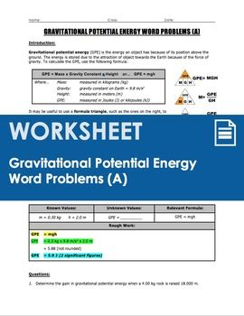 A 4-page worksheet that covers gravitational potential energy calculations (GPE=mgh) through a set of 8 word problems. Page 1 provides a summary of gravitational potential energy (GPE), including its definition, how GPE can change depending on an object's mass and height above the ground, and the GPE equation (GPE=mgh).
