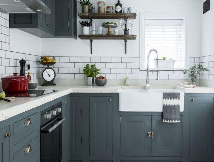 modele de cuisine ancienne campagne avec facade meuble cuisine gris ...
