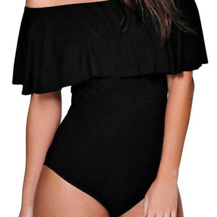 Damen Off Shoulder Stretch Overall Volant Oberteile Hemd Schulterfrei Bodysuit