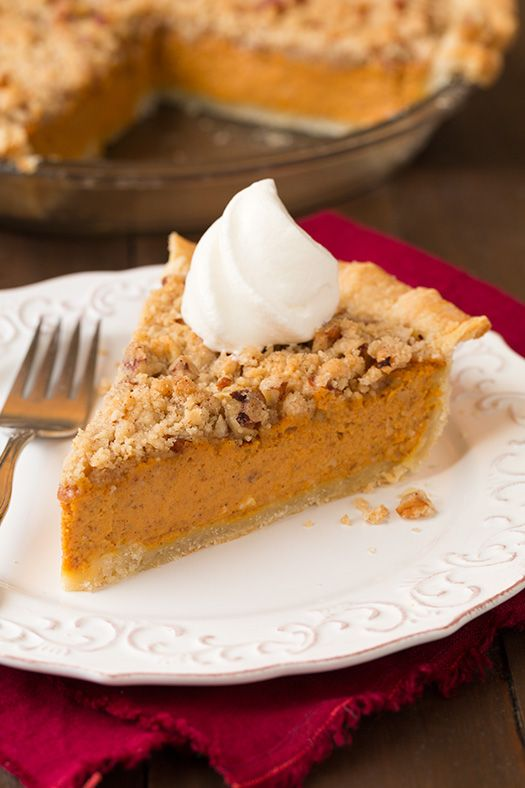 "Streusel Pumpkin Pie | Cooking Classy says: ""This is my favorite pumpkin pie, ever!! With that said don't you think you better try it? It is what pumpkin pie dreams are made of. It's perfectly pumpkin-y, it has just enough spice, and the well textured streusel just takes it way over the top."""