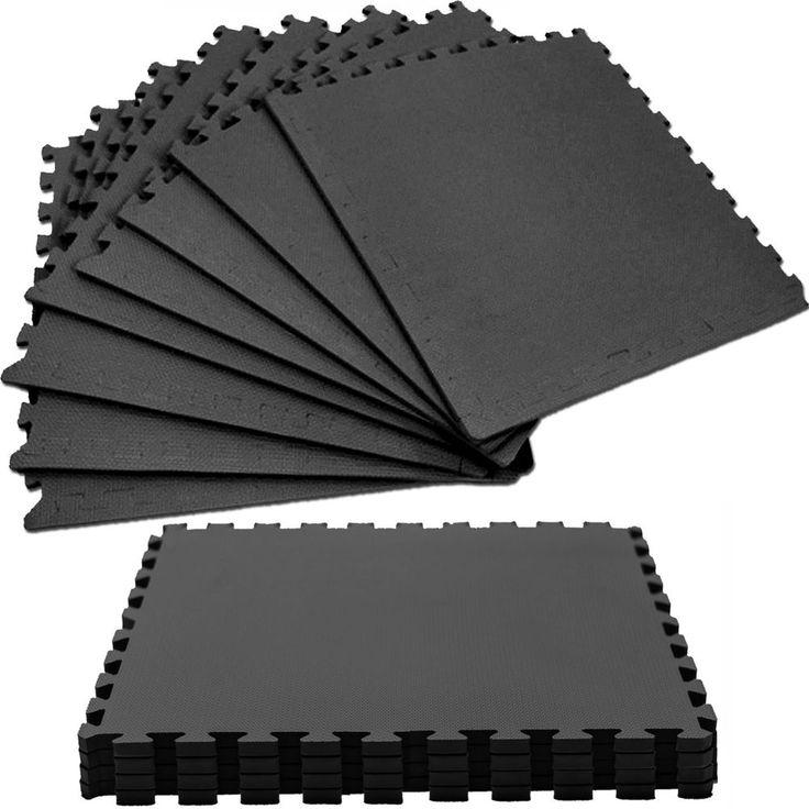 Large EVA Foam Mats Interlocking Floor Tiles Gym Nursery Yoga 60 X 60cm - BLACK