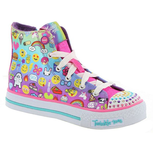 Skechers Twinkle Toes: Shuffles-Chat Time (Girls' Toddler-Youth) (175 BRL) ❤ liked on Polyvore featuring shoes, multi, lace up shoes, skechers, laced shoes, laced up shoes and skechers footwear
