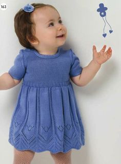 Beautiful baby knitted dress pattern for 0-12 months! Find the free baby knitted dress pattern here: link Cornflower blue baby dress. Free Pattern Accompanying diagrams: