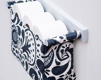 Navy blue patterned toilet paper holder, hanging bin with grey wood finish