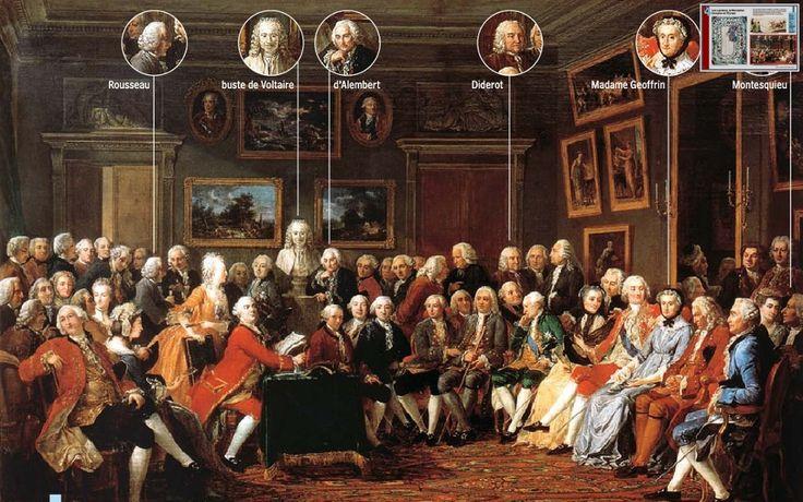 (07) Tijd van Pruiken en Revoluties, 1700-1800 --- 1). rationeel optimisme en 'verlicht denken' werd toegepast op alle terreinen van de samenleving: godsdienst, politiek, economie en sociale verhoudingen Beeld: Verlichte denkers in de salon of Mme Geoffrin in 1755, geschilderd door Lemonnier