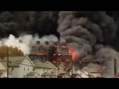 BREAKING NEWS - Fire Burning Bethlehem Steel Building Collapses at old N...