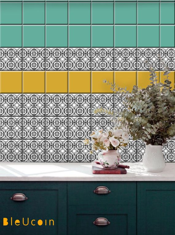 Tile decal : Mint Yellow & Grey mix   44 numbers by Bleucoin