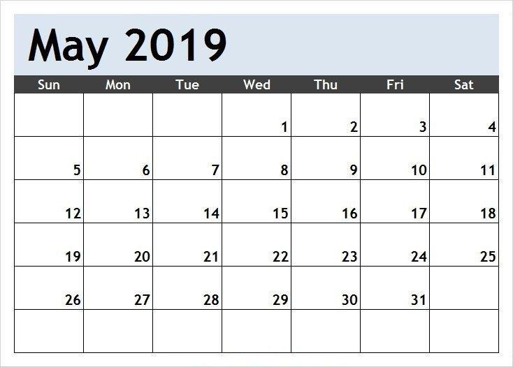Free May 2019 Printable Calendar Word Pdf With Holidays