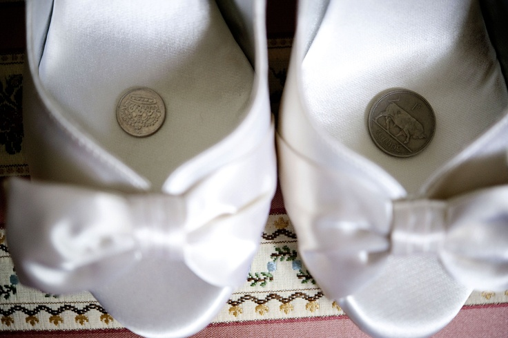 """Swedish wedding tradition - coins from each parent so the bride """"never goes without"""""""