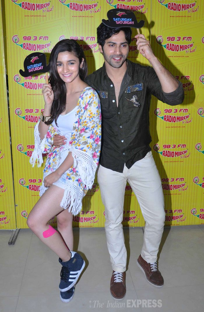 Alia Bhatt and Varun Dhawan at Radio Mirchi for the promotions of their movie 'Humpty Sharma Ki Dulhania'. #Style #Bollywood #Fashion #Beauty #Handsome