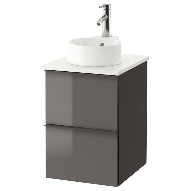 IKEA - GODMORGON/TOLKEN / GUTVIKEN, Meuble lavabo av lavabo à poser 29, , Garantie 10 ans gratuite. Détails des conditions disponibles en magasin ou sur internet.Convient aux petites salles de bain car la structure du meuble mesure 40 cm de large.Un lavabo à poser donne une touche finale personnalisée à votre salle de bain.La conception du siphon permet d'intégrer un tiroir spacieux.Tiroir en bois massif, avec fond en mélamine résistant aux rayures.Tiroirs faciles à ouvrir,...