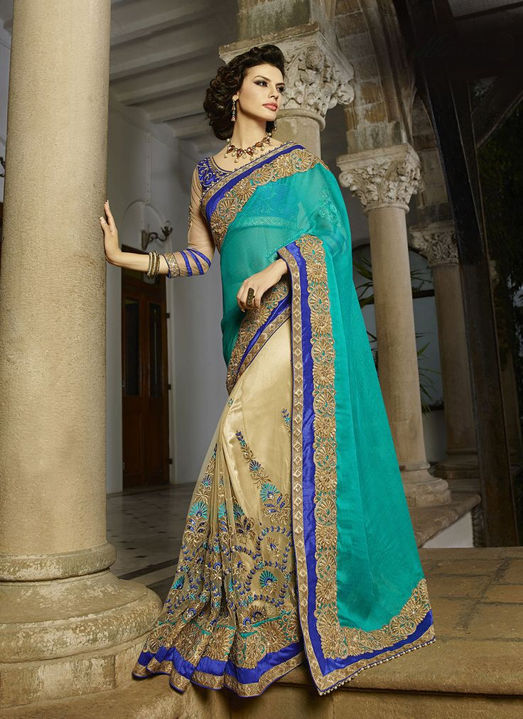 #Beige & #Blue Colour #Net & #Georgette #Saree. Lovely #floral #embroidery and #exotic #colours come together to define this #beautiful #saree.  Contact to Buy : +91-9377111620