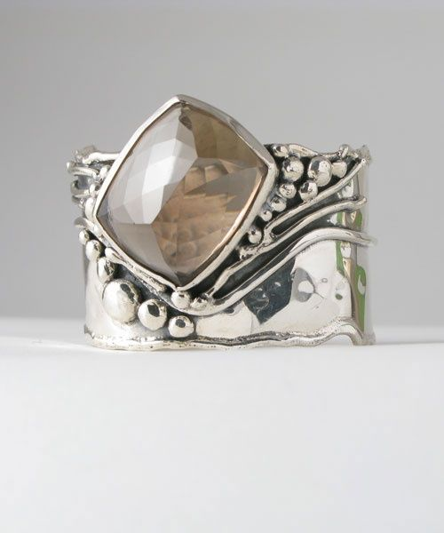 Cuff | Donald Marksz. Sterling silver and Smoky Quartz