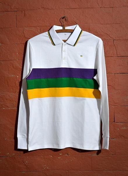 c632bf7a75b A staple for the Mardi Gras season. Long sleeve white, purple, green, and  gold cotton blend polo shirt.