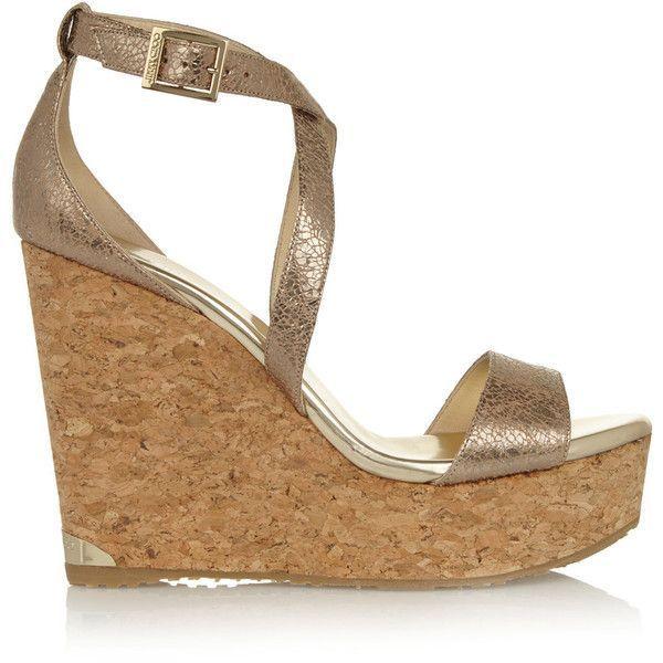 jimmy choo portia metallic cracked leather wedge sandals 252 rh pinterest com