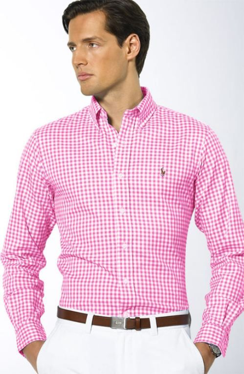 real men wear pink. Go back far enough, and pink was for boys and blue was for girls!