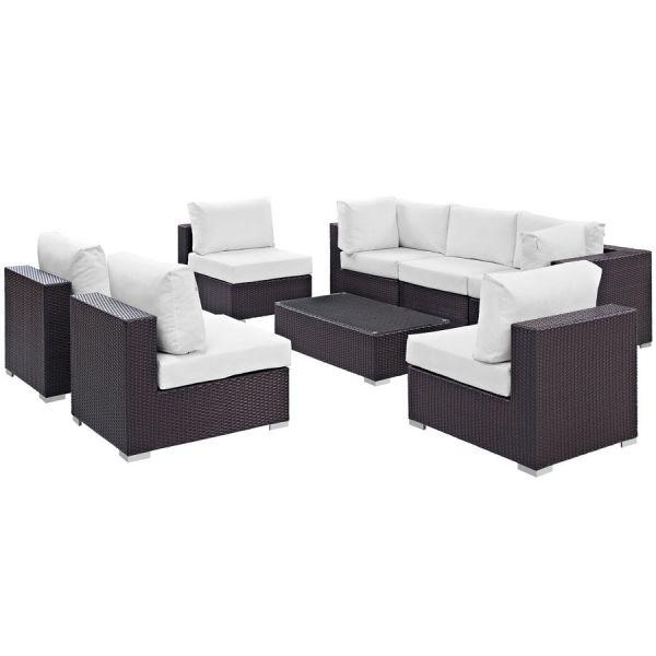 Convene Espresso White Fabric Rattan Glass 8pc Outdoor Sofa Set