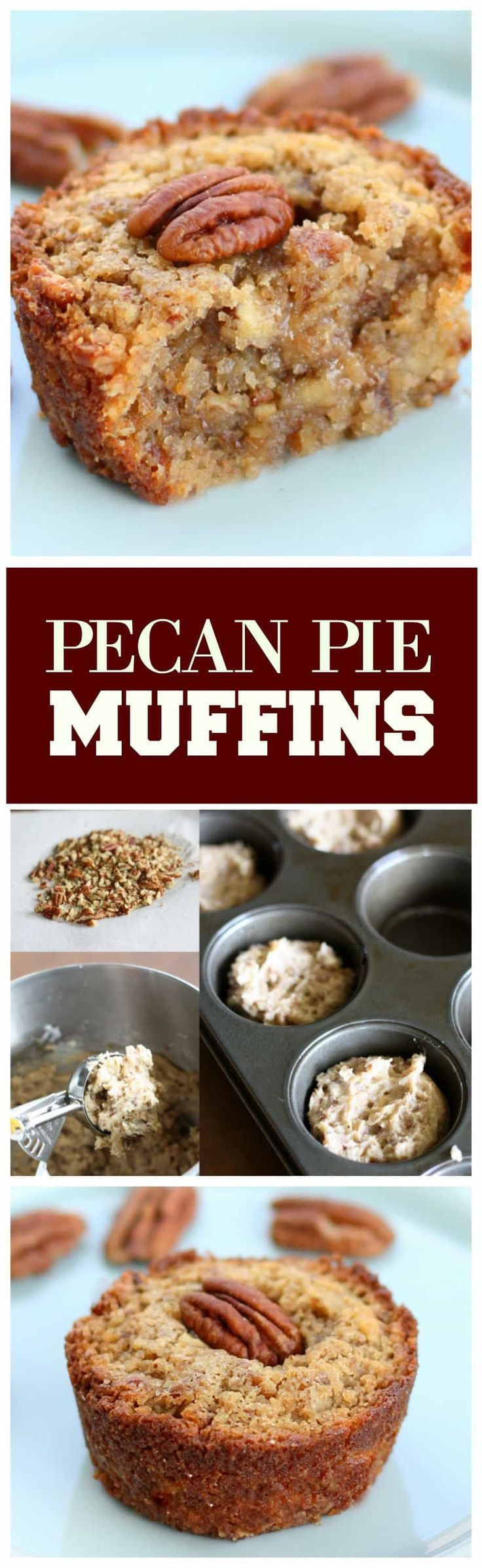 Pecan Pie Muffins - Muffin meets pecan pie. Mini versions that everyone loves. the-girl-who-ate-everything.com