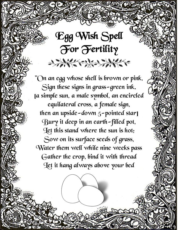 An egg wish spell for fertility.