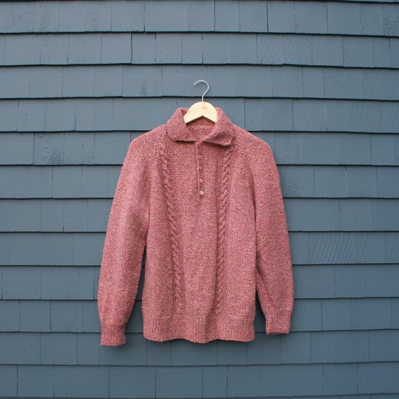50% OFF SALE  raspberry cream hand knit collared sweater /