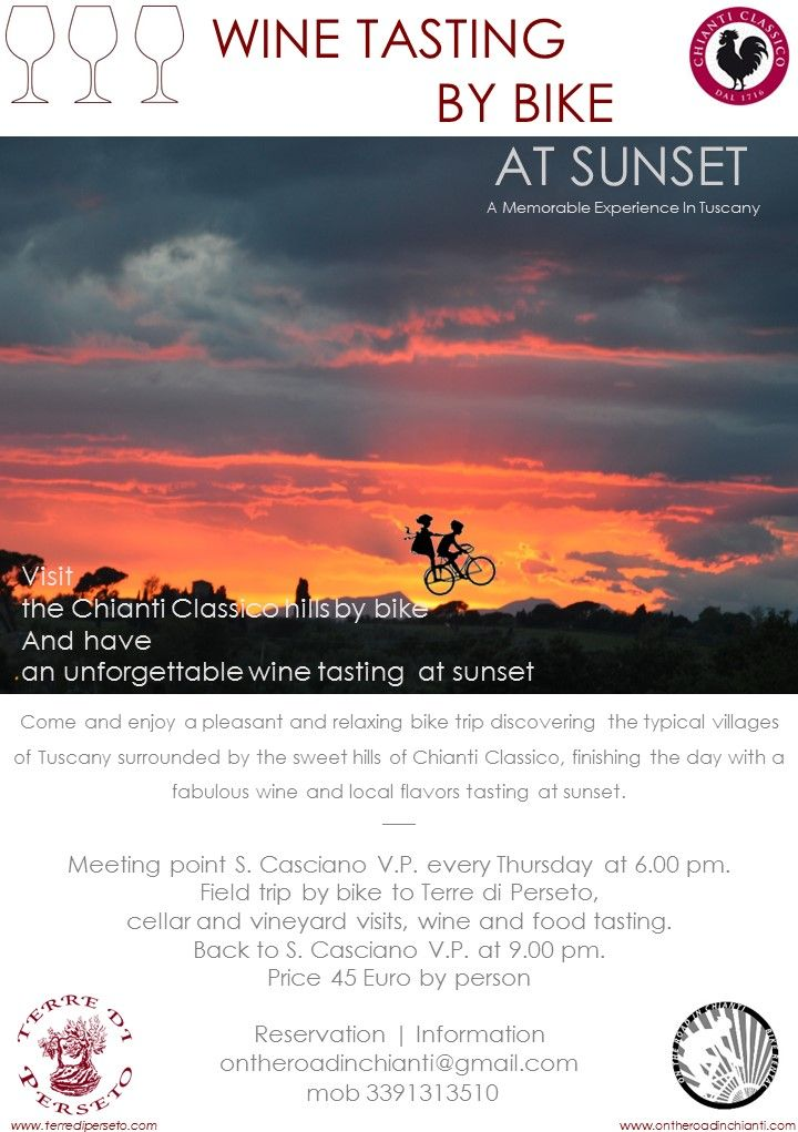 Visit the Chianti Classico hills by bike  And have an unforgettable wine tasting  at sunset