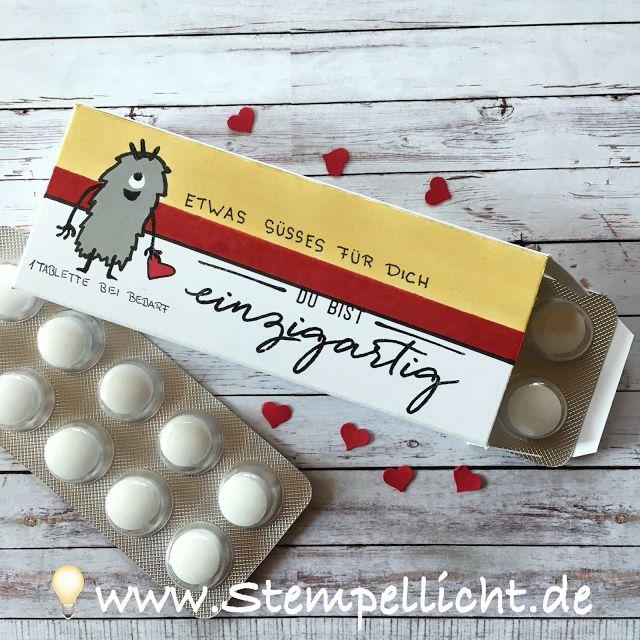 Stempellicht: Tabletten aus Traubenzucker mit Monsterverpackung