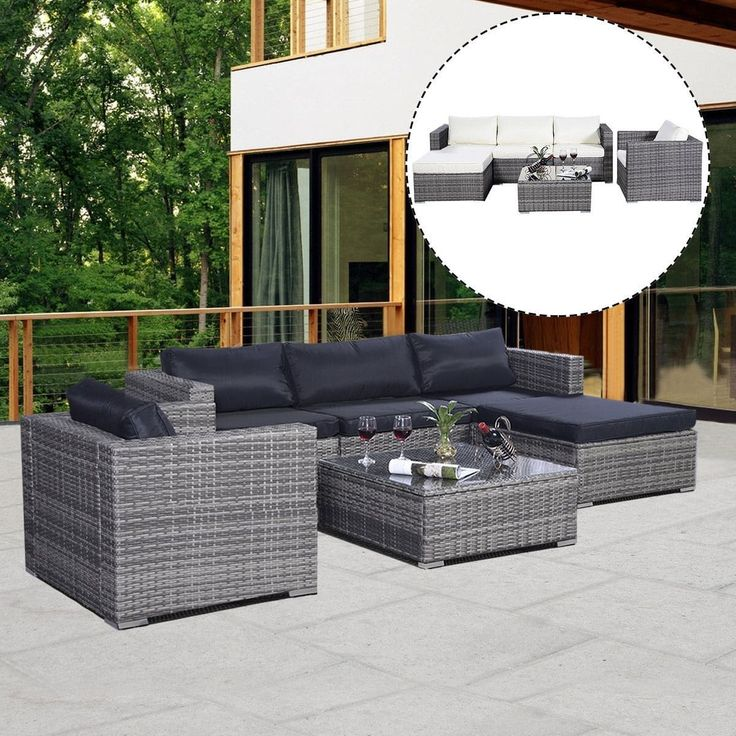 Costway 6PC Furniture Set Patio Sofa PE Gray Rattan Couch 2 Set Cushion Covers, Patio Furniture