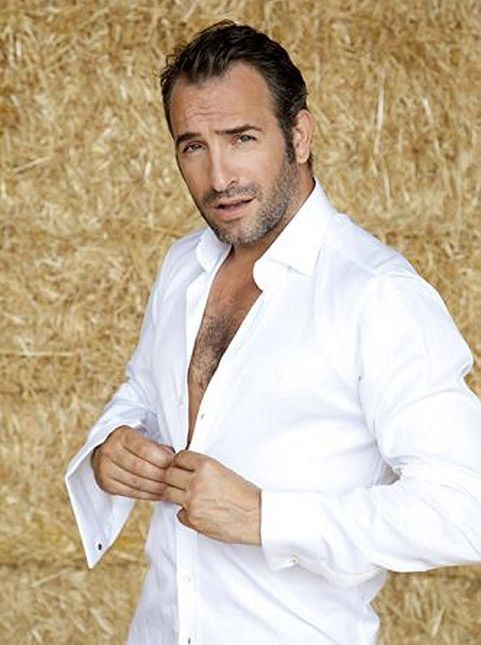 A man in a white button down shirt, one of my favorite looks--sexy Jean Dujardin