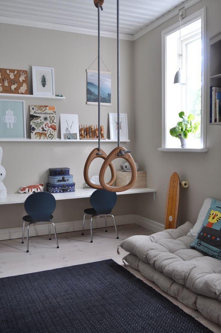 Lillagunga Gymnastic Rings In Oak With Grey Ropes By Josefin Netz Kid Room Decor Room Decor Kids Room Inspiration