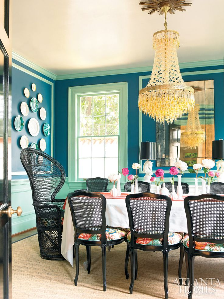 dining room color palette. April Murano glass chandelier  dining room chairs are upholstered in Schumacher s Chiang Mai Dragon sunburst ceiling medallion 115 best Color palette images on Pinterest palettes