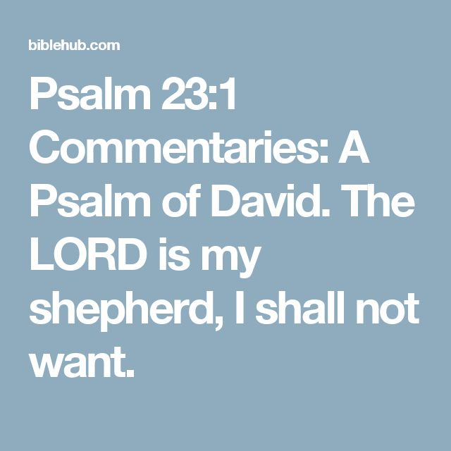 Psalm 23:1 Commentaries: A Psalm of David. The LORD is my shepherd, I shall not want.