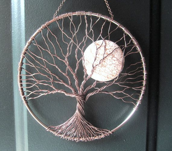 Calming tree wire tree of life wall hanging sun by for Hang photos from wire