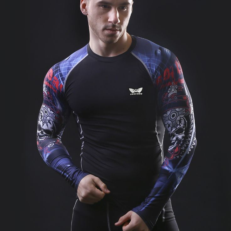 Mens Compression Long sleeve Breathable Quick Dry T Shirts Bodybuilding Weight lifting Base Layer Fitness Tight Tops T-shirt